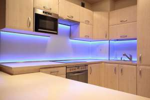 Bezel of LED lights in kitchen