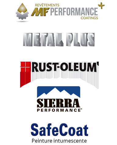 logo MF Performance +, logo Metal Plus, Logo Rust-Oleum, logo Sierra, Logo SafeCoat
