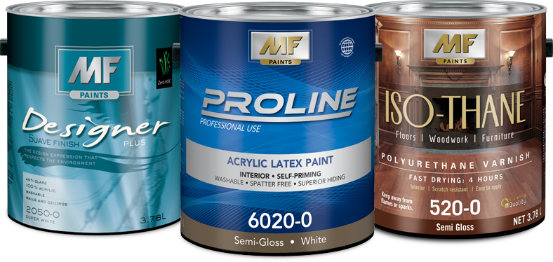 Designer Plus Suave finish, Proline professional paint and Iso-Thane polyurethane varnish