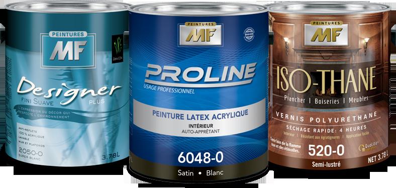 Designer Plus fini Suave, peinture professionnel Proline et Iso-Thane vernis polyuréthane